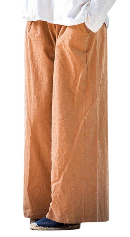 Enlishop Women's Casual Elastic Waist Wide Leg Loose Linen Palazzo Pants Brown