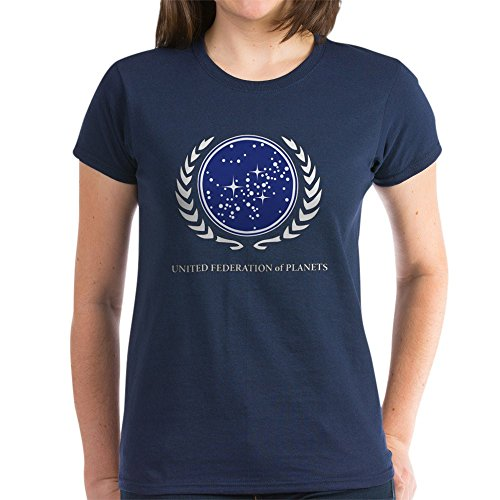 (CafePress - Star Trek United Federation of Planets T-Shirt - Womens Cotton T-Shirt Navy)