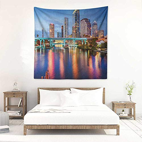 City Square Tapestry Hillsborough River Tampa Florida USA Downtown Idyllic Evening at Business District Occlusion Cloth Painting 32W x 32L INCH Multicolor -