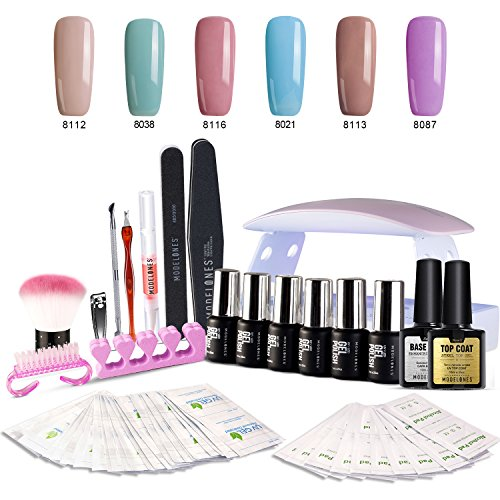 Gel Nail Polish Kit with UV light - Soak Off Gel Base Top Co