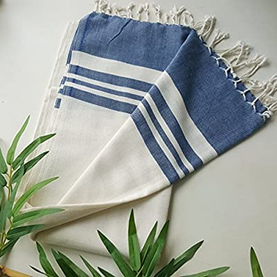 Secret Sea Collection Lightweight Turkish Peshtemal Towel %100 Bamboo 70'' x 35'' (Navy Blue) - They are super soft, lightweight, quick drying and easy to carry. Highly versatile; use on the beach, in the bathroom, sarong by the pool or a throw for your home. 30% less susceptible to odours than cotton. They will become softer and more absorbent after each wash. - bathroom-linens, bathroom, bath-towels - 51ZxuvSmz%2BL. SS400  -