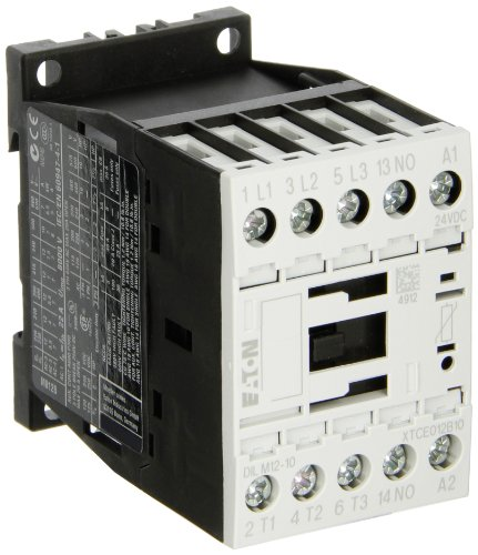 Eaton XTCE012B10TD XT-IEC Contactor and Starter, 45mm, 12A AC-3 Current Rating, 3 Max HP at 230VAC, 7-1/2 Max HP at 460VAC, 10 Max HP at 575VAC, 24VDC Coil Voltage ()
