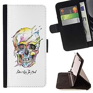 BullDog Case - FOR/Apple Iphone 6 PLUS 5.5 / - / WATERCOLOR SKULL WHITE DEATH ROBOT /- Monedero de cuero de la PU Llevar cubierta de la caja con el ID Credit Card Slots Flip funda de cuer