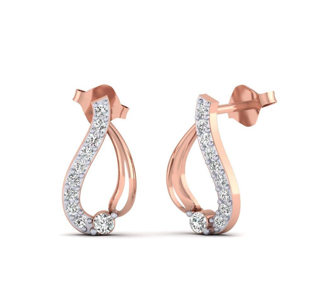 Fehu Jewel Women's 0.15ct Natural Diamond Fine Earrings Rose Gold Earrings Over Sterling Silver Gifts for Women