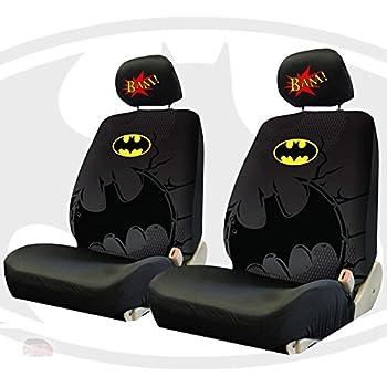 New Batman Car Truck Seat Covers Bundle With Classic Comic Logo Headrest BAM