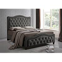 Furniture World Marcel Upholstered Bed with Button Tufted Curved Headboard and Footboard, Queen, Gray