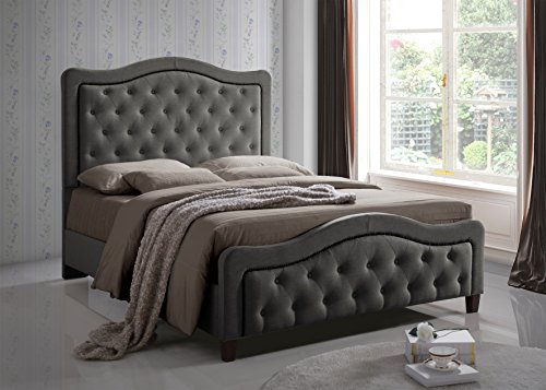 Furniture World Marcel Upholstered Bed with Button Tufted Curved Headboard and Footboard, Queen, Gray (King Single Upholstered Bed Head)