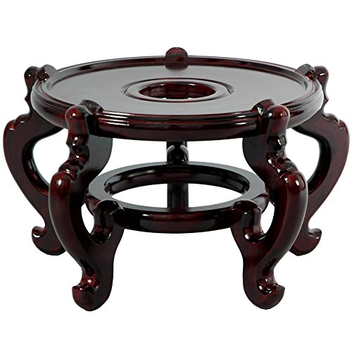 Hand Painted Plant Stand - Oriental Furniture Rosewood Fishbowl Stand - Size 11.5 in. Base Diameter