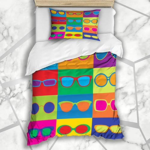 Ahawoso Bedding Duvet Cover Sets Twin 68x86 Colored Checkered Checks Popart Styled Generic Eyeglass Frame Tinted Beauty Fashion Can Textures Soft Microfiber Decorative Bedroom with 1 Pillow Shams