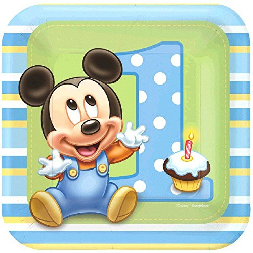 AMSCAN 8 Count Mickey's 1st Birthday Square Dessert Plate...