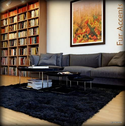 Black Shaggy Faux Fur Area Rug/Long Hair Icelandic Sheepskin Accent Carpet / 5' X 8' / Rectangle/New