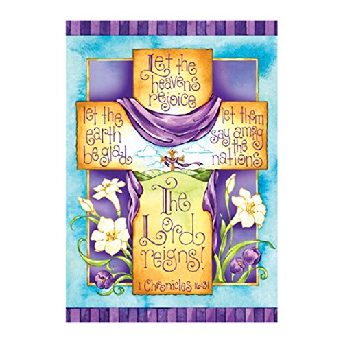 Flag Cross Banner Let The Heavens Rejoice Double Sided Decorative Flags 100% Polyester And Waterproof Fade And Mildew Resistant 28 X 40 Inch Banners Inspirational And Memorial (Happy Easter Cross)