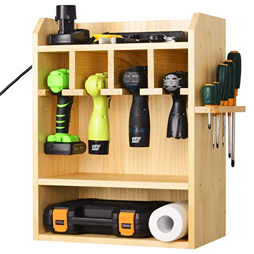 Power Tool Organizer Drills Charging Station Cordless Drill Organizer Wall Impact Driver Storage Holder with Screwdriver…