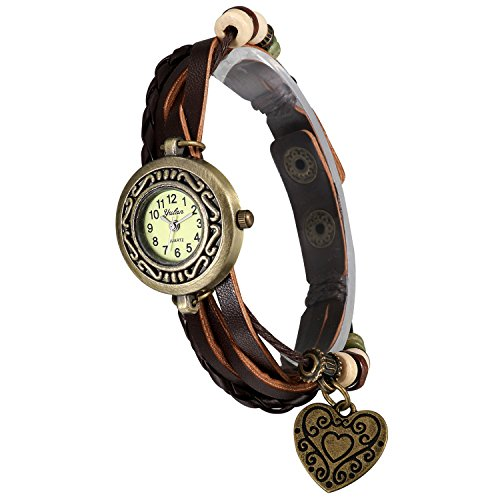 Lancardo Antique Ladies Small Bronze Case Multi-Layer Brown Leather Bracelet Watch With Heart Pendant ()