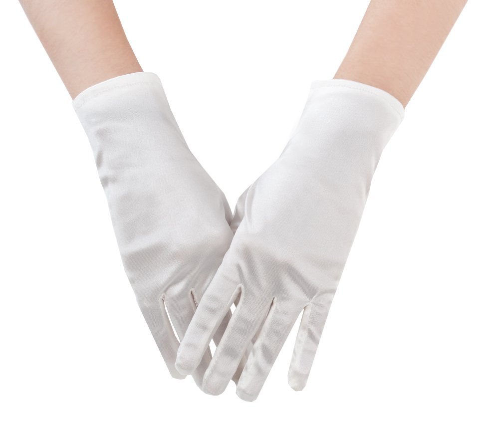 JISEN Women Banquet Party Wedding Bridal Dance Opera Short Satin Colorful Gloves Blue CMG00496