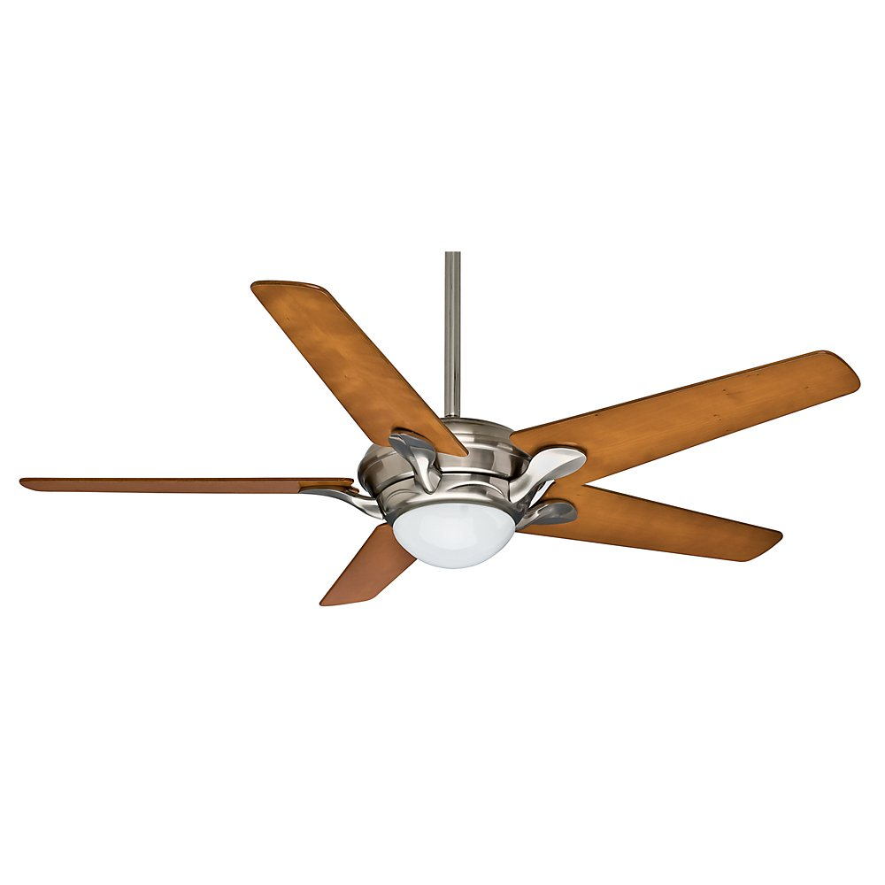 Casablanca Fan Company 59076 Bel Air 56-Inch Brushed Nickel Ceiling Fan with Five Hi-Gloss Cherrywood Blades and a Light Kit
