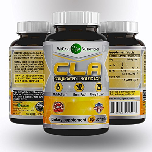 WeCare Nutritions - CLA, 60 Softgels - Premium Quality - Highest Grade Safflower Oil - Natural Fat Burner - Lose Belly Fat Fast