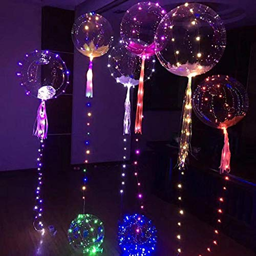 Gotian 20inch Multi-Colored Luminous Led Balloon Transparent Round Bubble Assorted Colors Flashing Bright Lights Decoration Party Wedding Celebrations