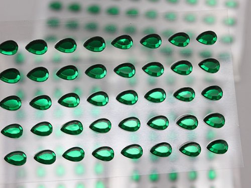 UPC 762022325409, 6x4mm Green LQ09 Stick On Teardrop Gems For Cards And Invitations - 50/SHT