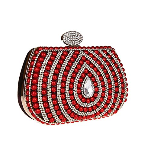 KAXIDY Perlas Carteras de Mano Bolso de Embrague Bolso Embrague de la Tarde (Rosa-roja) rojo