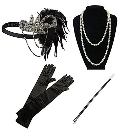 1920s Accessories Headband Necklace Gloves Cigarette Holder Flapper Costume Accessories Set for Women(SET -