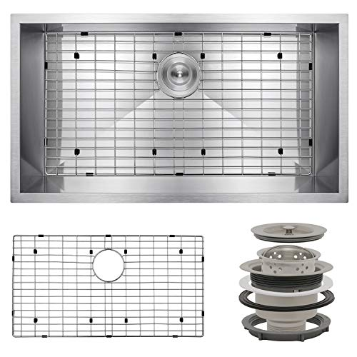 AKDY Handmade Kitchen Sink 32-inch Undermount Single Bowl in Stainless Steel combo with Sink Grid & Sink Drain (32