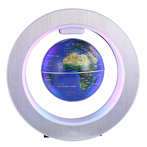 "YTOM Magnetic Levitation Floating Globe Lamp, 4"" Rotating Anti Gravity Levitating World Globes with 8 LED Lights/ 100-240VAC/ DC 12V, Educational Gifts for Kids, Home Office Desk Decoration (4' Blue)"