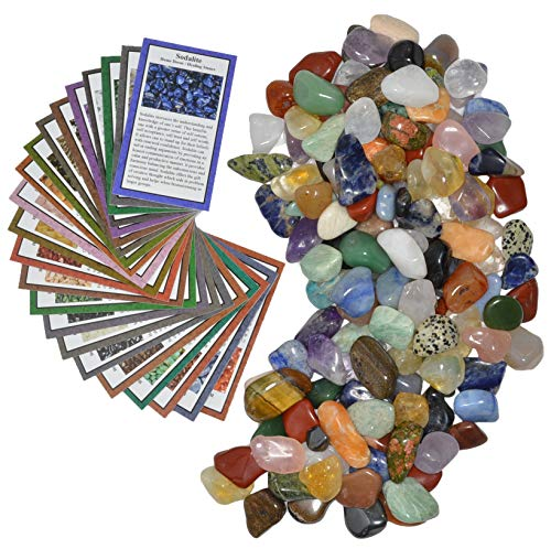 Fantasia Materials: 3 lbs Small Tumbled Polished Natural Gem Stones with Educational Rock Information and Identification Cards - avg 0.75