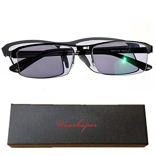 WEARKAPER Transition Sunglasses Photochromic Myopia Eyeglasses Finished Myopia Glasses Men Women (-4.00, Black)