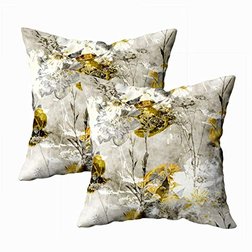 - EMMTEEY Floral Pillow Covers, 18x18 Pack 2 Throw Pillow Covers Sofa Floral Sofa Pillows Vintage Watercolor Monochrome Floral Pattern with Old Gold and White Square Double Sided Printing
