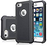 iPhone 5 5S SE Rugged Impact Heavy Duty Dual Layer Shock Proof Case Cover Skin - Black