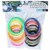 MYNT3D ABS 3D Pen Filament Refill Pack (10 Color, 3m Each)