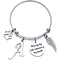 IEFSHINY Loss of Pet Memorial Gifts Bracelet - Initial Charm Bracelet Once by My Side Forever…