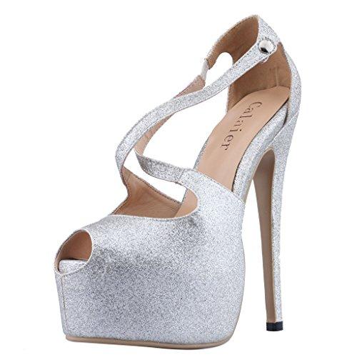 Calaier Womens Caumbrella Bout Rond 15.5cm Stiletto Slip Sur Sandales Chaussures Argent