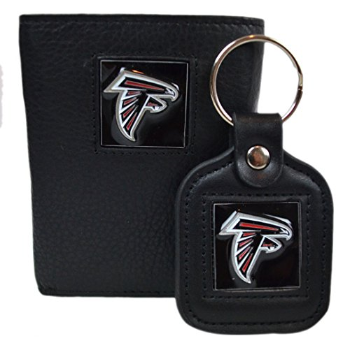 Official National Football League Fan Shop Authentic Genuine Leather NFL Trifold Wallet and Key Chain Bundled Set (Atlanta (Tri Fold Wallet Nfl Football)