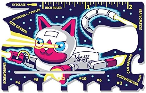 Wallet Ninja PETS: (Space Puppy, Robot Kitty): 18 in 1 Credit Card Sized Multitool - #1 Best Selling in the World (Robot Kitty)