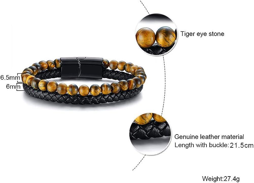 XUANPAI Bracelet en Cuir tress/é /à Deux brins avec Perles grav/ées /œil dHorus /égyptien