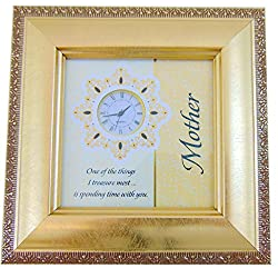 Mother Framed Table Clock Mother's Day Gift for Mom Hangs + Easel 6 Inches