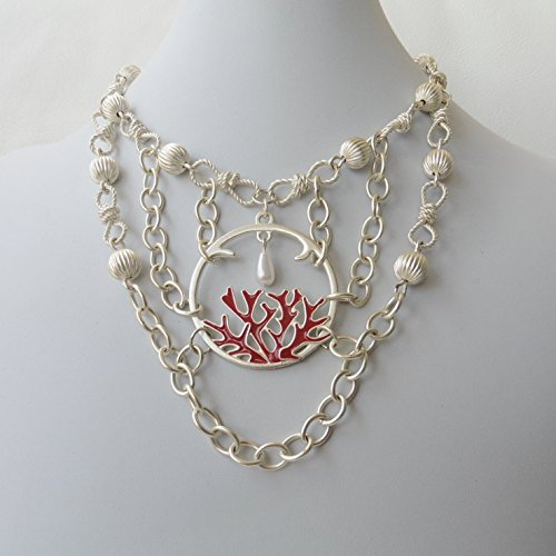White Silver Coral Reef Chain Statement Nautical Necklace One of a Kind (Reef Necklace Coral)