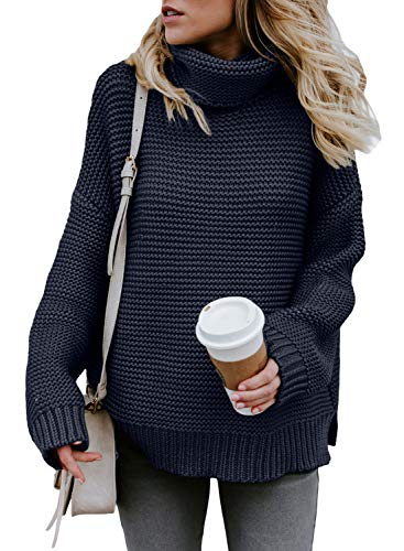(ZKESS Juniors Long Sleeve Cowl Neck Pullover Sweater Shirt for Women Plu Size Winter Loose Warm Knit Tunic Tops and Blouses Navy X-Large Size)