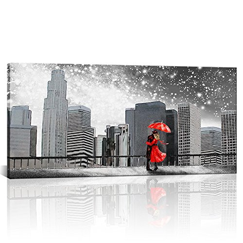 Girl Under Umbrella (Large Vintage Black and White Canvas Wall Art Couples with Red Umbrella Under Milky Way in Washington City Landscape Modern Home Decor Canvas Prints Framed for Bed Room Ready to Hang 24