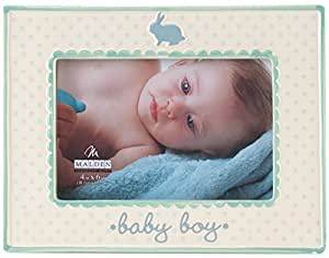 Malden International Designs Glazed Ceramic With Blue And Green Accents Baby Boy Picture Frame, 4x6, White