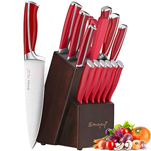 Emojoy Knife Set, 15-Piece Kitchen Knife Set with Block Wooden, Red Handle for Chef Knife Set, Kitchen Knives Sharpener…
