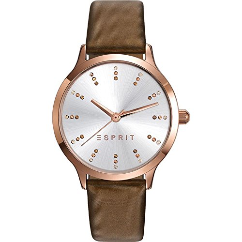 Esprit Women's 34mm Brown Leather Band Steel Case Quartz Silver-Tone Dial Analog Watch ES109292004