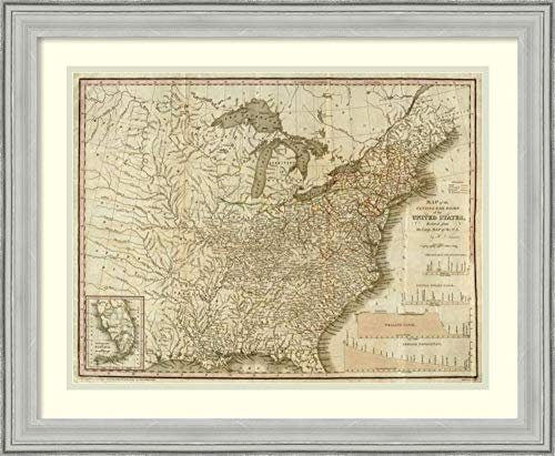 (Framed Wall Art Print | Home Wall Decor Art Prints | A Connected View of The Whole Internal Navigation of The United States, 1830 by Henry S. Tanner | Casual Decor)