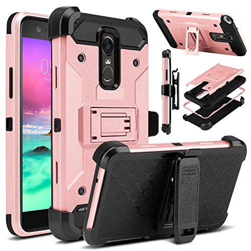 LG Stylus 3 Case, LG Stylo 3 Case, Venoro Heavy Duty Shockproof Rugged Four-Layer Full Body Protection Case Cover with Belt Swivel Clip and Kickstand for LG Stylus 3/LG Stylo 3/LG K10 Pro (Rose Gold)