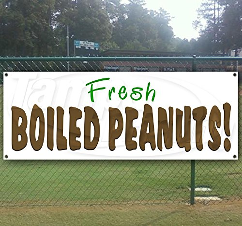 Boiled Peanuts 13 oz Heavy Duty Vinyl Banner Sign with Metal Grommets, New, Store, Advertising, Flag, (Many Sizes Available)