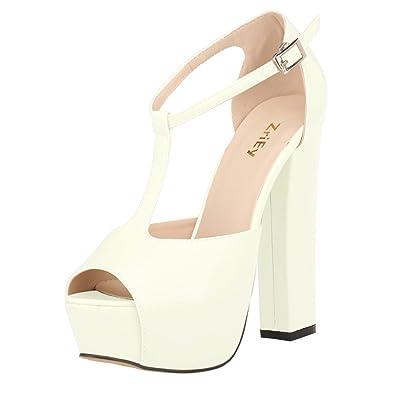 00a2d8da214 ZriEy Women s Peep Toe 14CM   5.5 inches High Heel T-Strap Platform Chunky  Heels