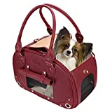 PetsHome Dog Carrier, Pet Carrier, Foldable Waterproof Premium Leather Pet Travel Portable Bag Carrier for Cat and Small Dog Home& Outdoor Wine Red