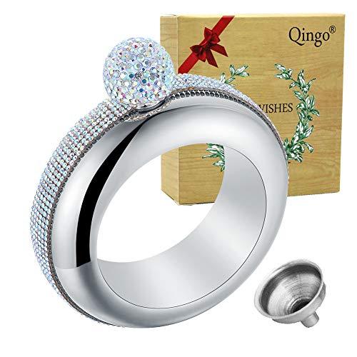 Qingo Flask Bracelet Bangle Flask Creative Stainless 304 Steeland Hip Flask Funnel Set For Women 3.5 oz (Sliver Rhinestones)